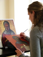 Working on the icon of St. Anthony